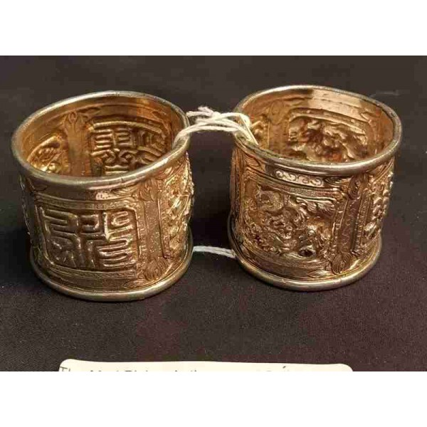 Chinese Two Cast Sterling Napkin Rings, ca 1900