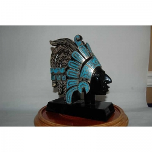 STERLING SLIVER INLAID OBSIDIAN HEAD STATUE ( MEXICO)
